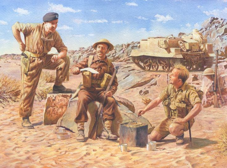 Brew-up!   Tea in the Western Desert. A British infantryman and tank crewman chat around their Benghazi cooker, with a Gurkha rifleman. All eagerly awaiting the respite of a sweet 'cuppa.'
