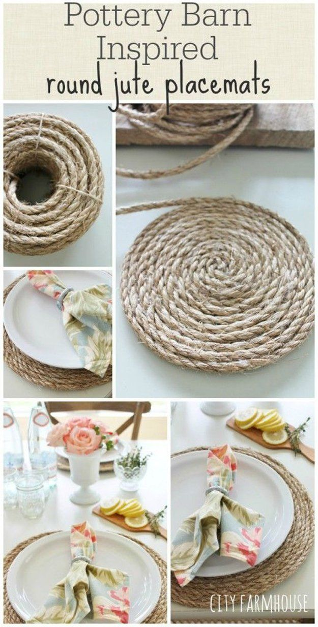 PB Inspired Round Jute Placemats - DIY Pottery Barn Craft Ideas | 34 DIY Pottery Barn Hacks For Design On A Budget by DIY Ready at http://diyready.com/diy-projects-pottery-barn-hacks