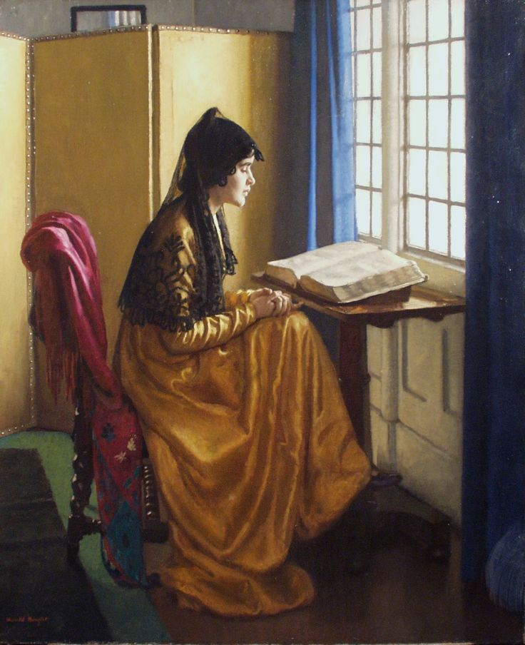 Reading at the window. Harold Knight (British, 1874-1961). Oil on board.
