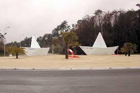 Paper photos roundabout near Ronce les Bains, Charente Maritime