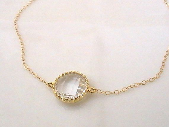 Gold Dainty Necklace Bridal Crystal Necklace by Crystalshadow