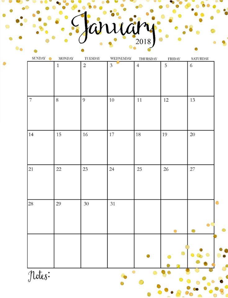 January 2018 Schedule Calendar