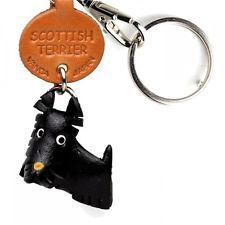 Scottish Terrier Handmade 3D Leather Key chain ring *VANCA* Made in Japan #56756