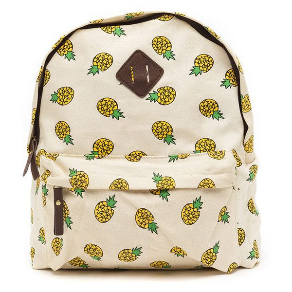 Tropical Vacay Pineapple Print Backpack BEIGEMULTI ($34) ❤ liked on Polyvore featuring bags, backpacks, multi, zipper bag, pink backpack, canvas knapsack, shoulder strap bag and canvas zip bag