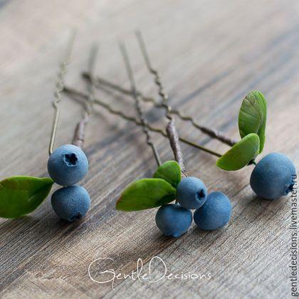 Заколки ручной работы. Шпильки с ягодами голубики, комплект из 3 штук. GentleDecisions. Ярмарка Мастеров. Ягоды, лесная фея