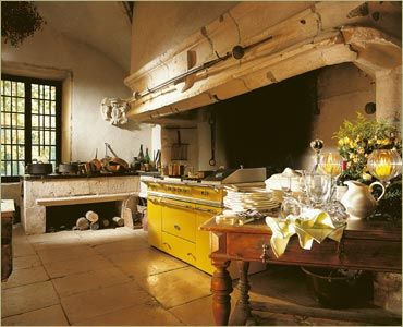 Trend: Colorful appliances, like in this French country kitchen.