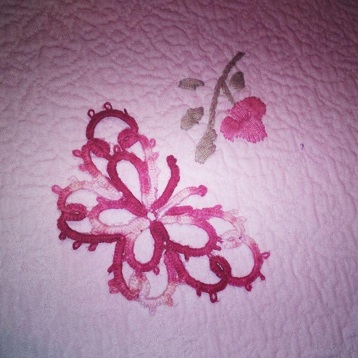farfalla a chiacchierino ad ago, rosso sfumato.
