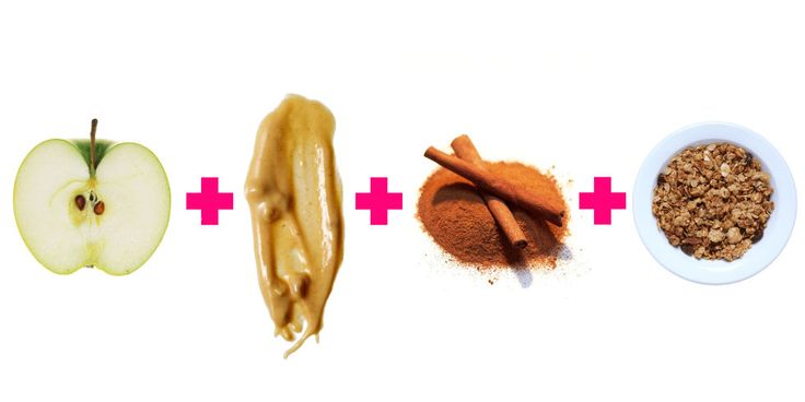 """It's hard to argue with something that's so easy, and so good. Try this recipe from The Well Necessities founder Lisa Hayim, R.D.: Thinly slice apples  and coat them with two tablespoons powdered of peanut butter –€"""" regular PB works fine, too –€"""" and a little cinnamon, then top off with a light sprinkling of dry muesli (granola tends to pack on added oils and sugars). This balanced snack has a cravings-curbing mix of protein and fiber, and cinnamon may even work to rev up your metabolism."""
