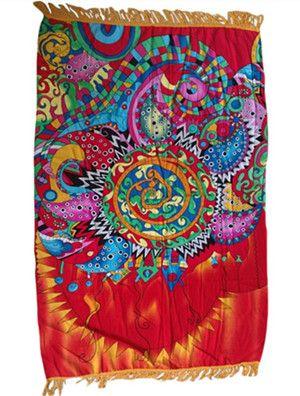 Gypsy Pattern Style Tassel Trim Beach Blanket summer swimming beachwear Outdoor Camping Mattress cheap Cover-Ups 42116