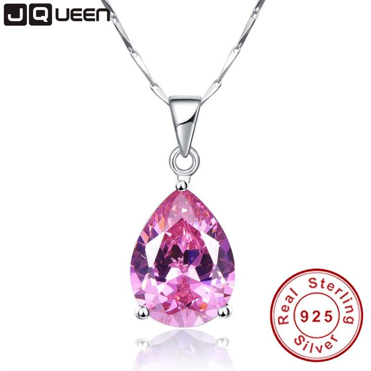 JQueen 13.95Ct Oval Water Drop Pink Topaz Necklaces & Pendants Genuine Silver 925 Jewelry Charms Engagement Wedding Jewelry