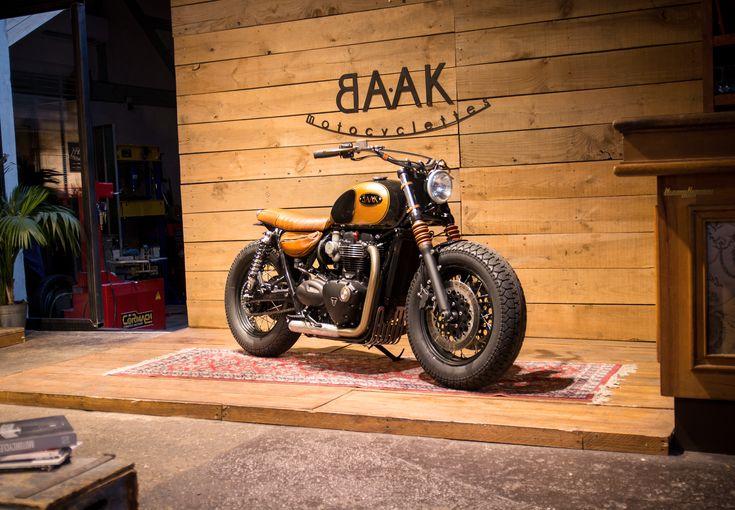 Triumph Bonneville T120 Bobber built by BAAK Motocyclettes in France, shot at the workshop's showroom.