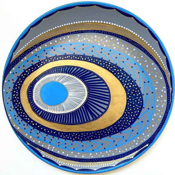 Decorative Plate  Evil Eye Wall Decor  Original by biancafreitas