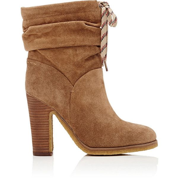 Chloé Women's Suede Slouchy Ankle Boots (€195) ❤ liked on Polyvore featuring shoes, boots, ankle booties, ankle boots, slouch ankle boots, high heel boots, brown slouch boots, brown ankle boots and suede ankle boots