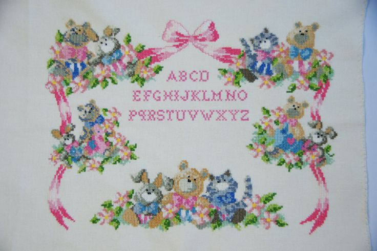 Vintage alphabet embroidery sampler with cute animals, abc sampler, unframed embroidery, nursery decor by JoorVintageTreasures on Etsy