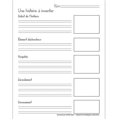Fichier PDF téléchargeable En noir et blanc 1 page  Plan de récit en 5 temps avec espaces pour dessiner.