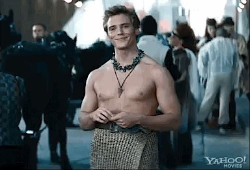 """And, yes, Finnick (Sam Claflin) is shirtless. 