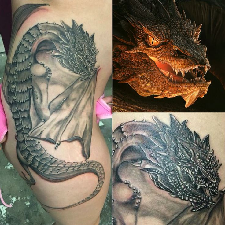 My Smaug tattoo by Ryan Spilman from OG Tattoo! In love  #tattoo #smaug #lotr #thehobbit