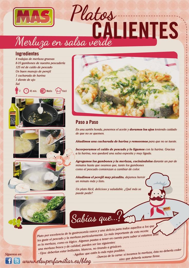 ¿Os apetece almorzar #pescado? ¿Qué os parece una merluza? #Receta de merluza en salsa verde  #infografia #inforecetas