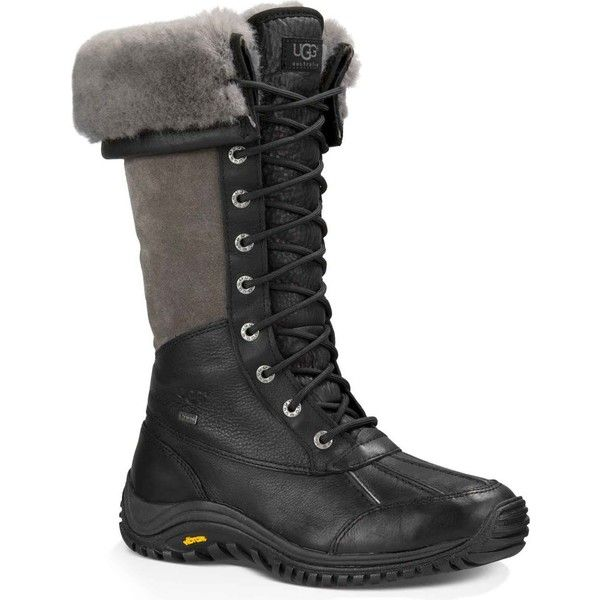 UGG Women's Adirondack Tall Black Rain Boots ($295) ❤ liked on Polyvore featuring shoes, boots, ankle boots, waterproof leather boots, short black boots, rain boots, waterproof boots and snow boots