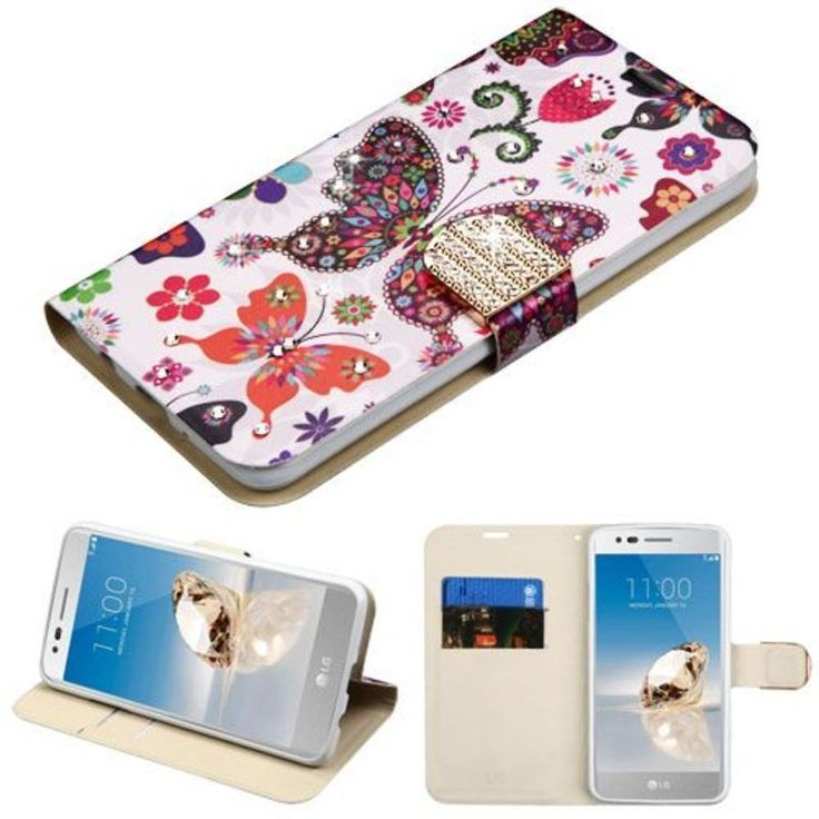 Insten / White Butterfly Wonderland Leatherette Case Cover with Stand For LG Aristo/ Fortune/ K8