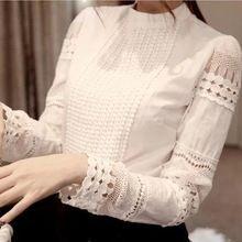 Haute qualité printemps automne femmes chemises Blouses à manches longues Slim base Tops creux dentelle Shirts pour femme J2531(China (Mainland))
