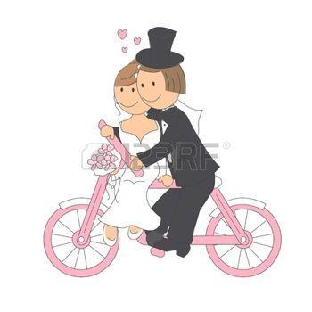 Svatební pár jízda na kole, ruční kreslení ilustrace na bílém pozadí photo