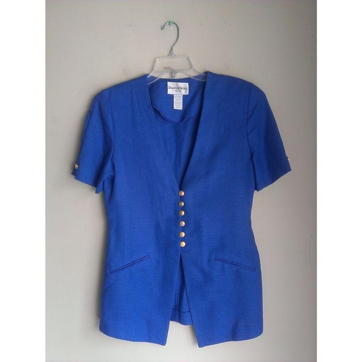 Vintage Danny & Nicole New York Royal Electric Blue Gold Button Front Suit Blazer Jacket Sz 8 Medium