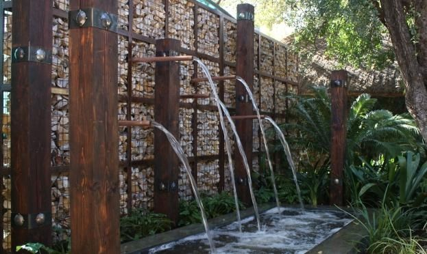 Gabion water feature wall by Badec Bros Deco, Pretoria, SA