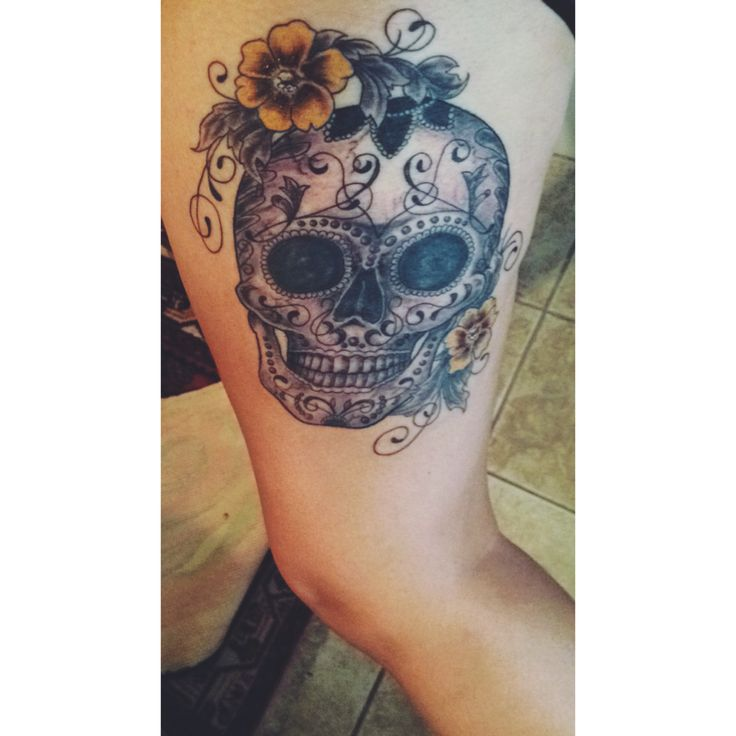My Sugar Skull thigh tattoo
