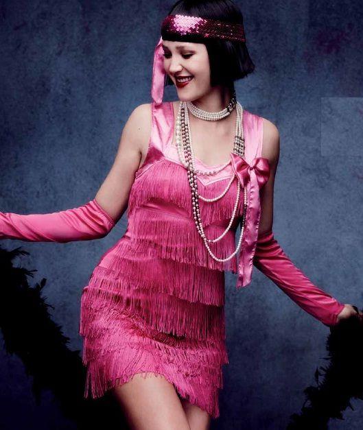 #Costume #Disfraz de Charlestón Años 20 para mujer en color rosa fucsia con  flecos