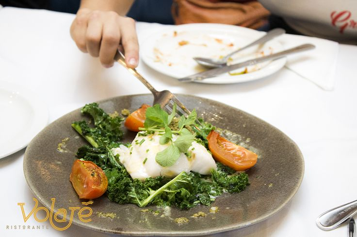 Kingklip Bollito con Cavolo Steamed green listed SASSI kingklip, green tapenade, baby kale, roast plum tomatoes, crema.