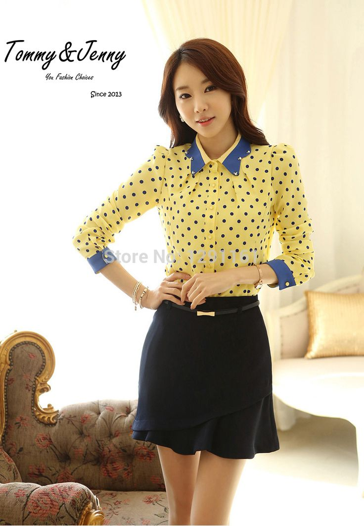 Find More Blouses & Shirts Information about 2015 new spring Korean version of slim Femininas Casual Yellow Polka Dot Long Sleeve Chiffon Shirt Women Camisas Femininas,High Quality shirt women,China shirt leather Suppliers, Cheap womens short sleeve polo shirts from Tommy&Jenny on Aliexpress.com