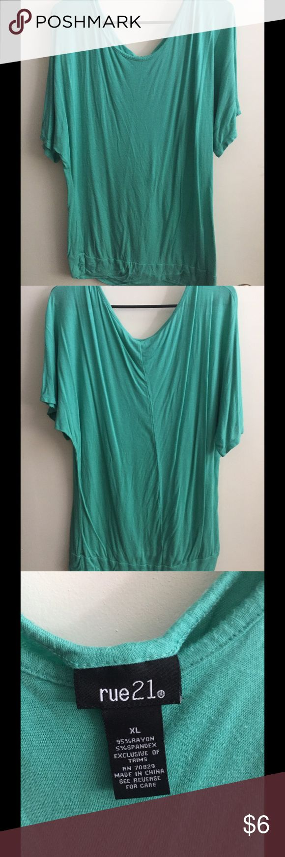 Teal Green Dolman/Batwing Shirt Teal green dolman/batwing shirt.  Very soft material, long fit, barely worn.  Rue 21 Rue21 Tops
