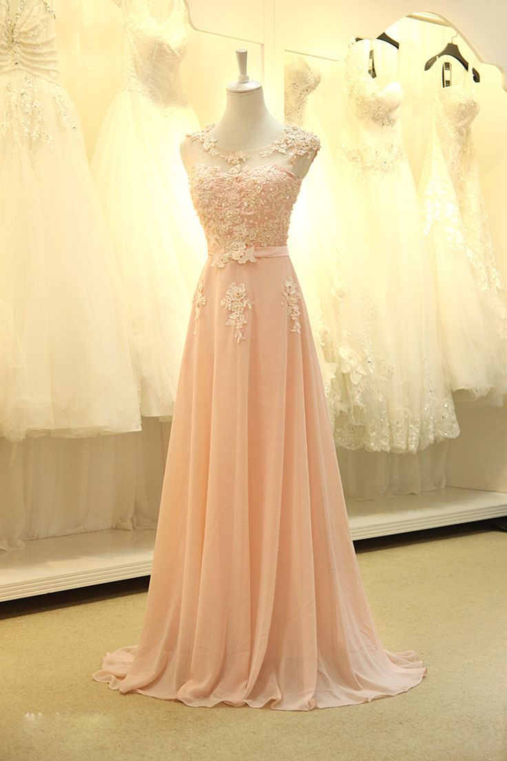 floor length formal evening dress gown 2015 new Elegant pink A line lace chiffon maxi long dress women weddings prom party dress-in Evening Dresses from Weddings & Events on Aliexpress.com | Alibaba Group