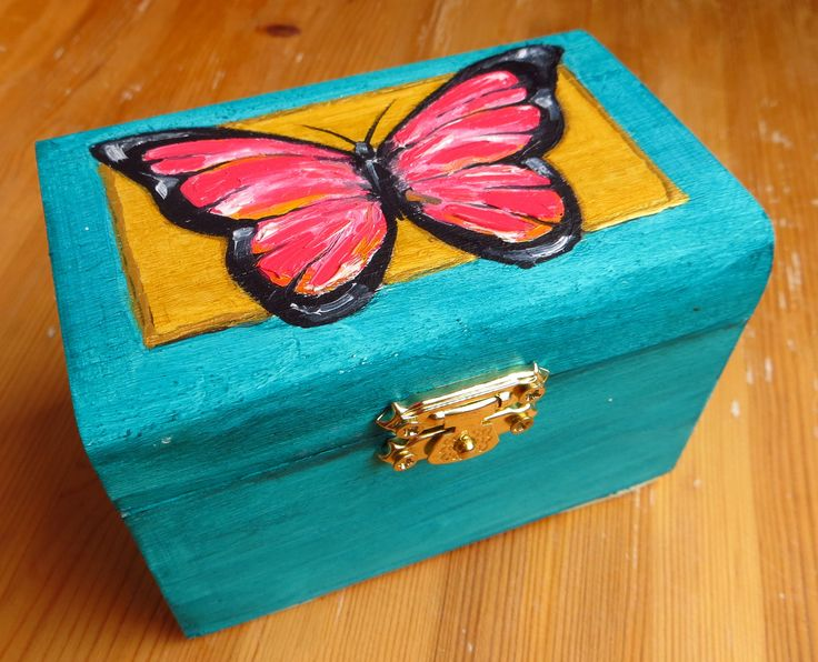 Butterfly, Jewelry Wooden Box, Turquoise Blue, Trinket Box, Hand Painted, Unique Gift, Pink Butterfly, Wooden Box by MikiMayoShop on Etsy