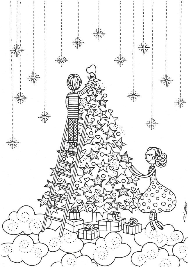 christmas printable coloring page for adults or children - Coloring Pages Christmas Printable