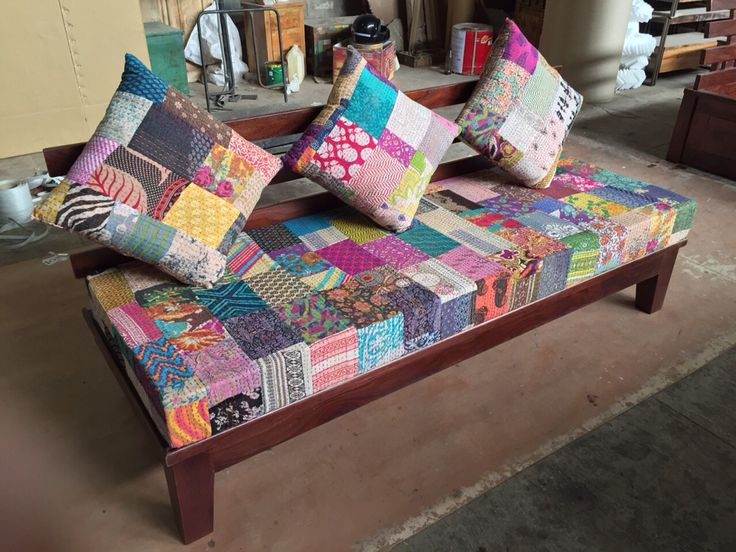 Sheeshm three seater sofa with kantha fabric for more info visit www.antiquesindian.com