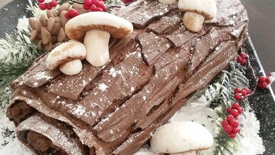 Buche de Noel is the French name for a Christmas cake shaped like a log. This one is a heavenly flourless chocolate cake rolled with chocolate whipped cream. Traditionally, Buche de Noel is decorated with confectioners' sugar to resemble snow on a Yule log.