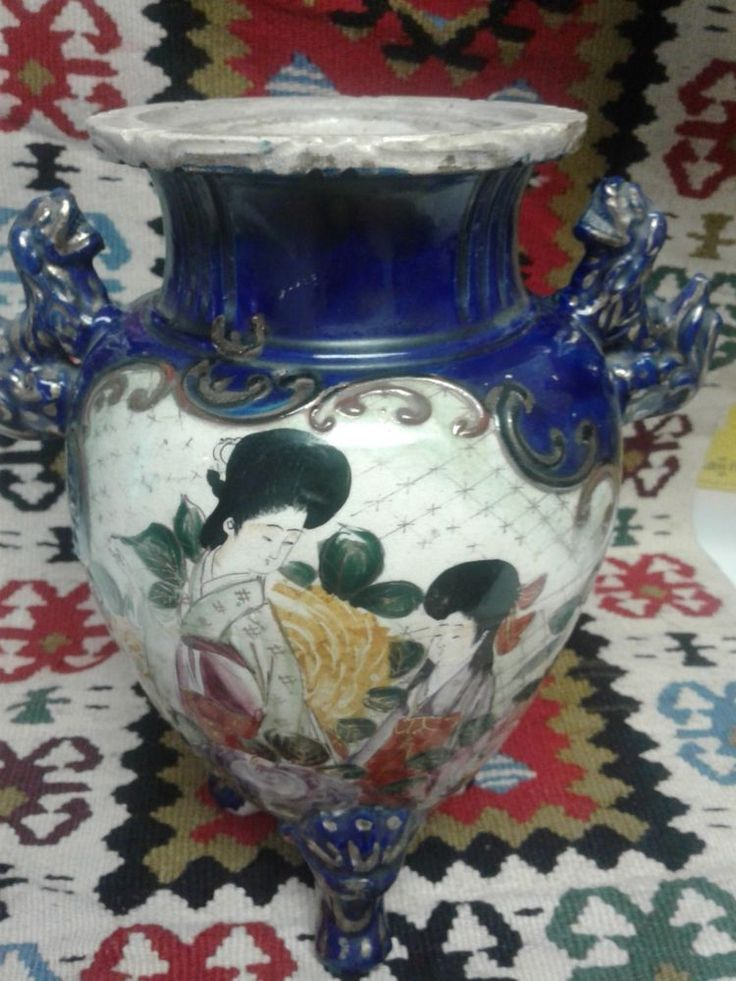 Antique Japanese Porcelain 3 Footed Vase #Unknown