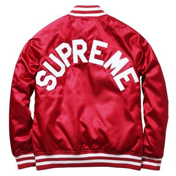 Supreme Supreme/Champion Satin Jacket ❤ liked on Polyvore featuring outerwear, jackets, red satin jacket, satin jackets and red jacket