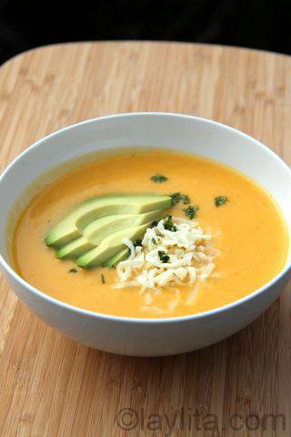Locro de papa soup Recipe for locro de papa or potato soup, a traditional Ecuadorian soup made with potatoes, onion, garlic, cumin, achiote or annatto, milk, cheese and cilantro.
