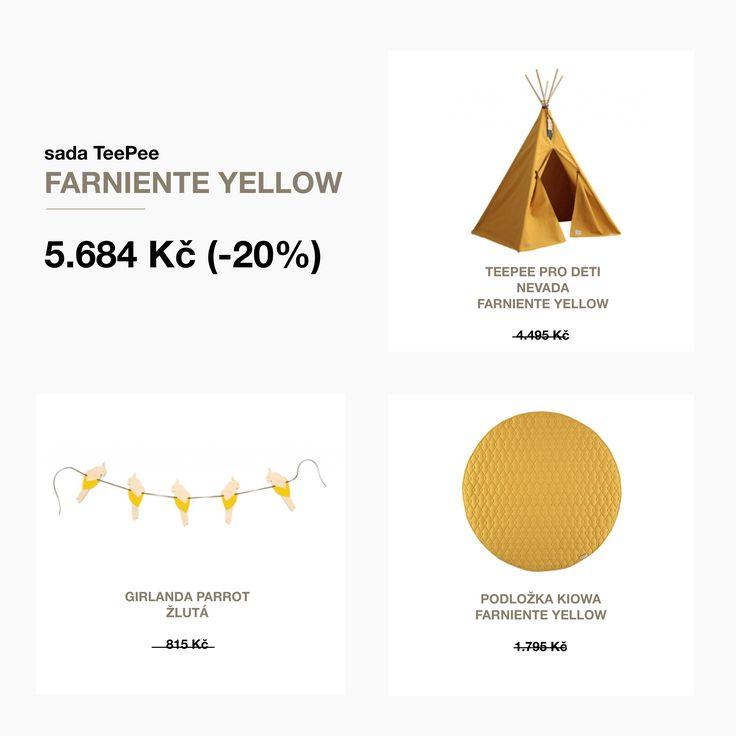 Sada TeePee + Podložka Kiowa + Girlanda Parrot žlutá od Nobodinoz za výhodné ceny.