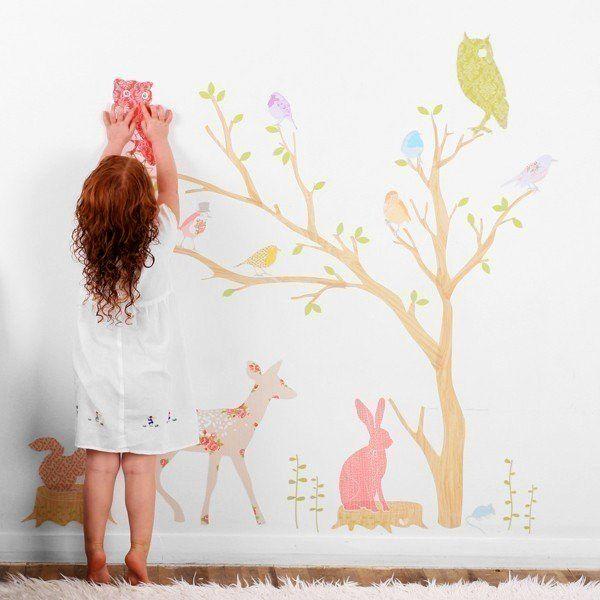 Тканевые наклейки в декоре стен детской комнаты,  http://interiorizm.com/textiles-stickers