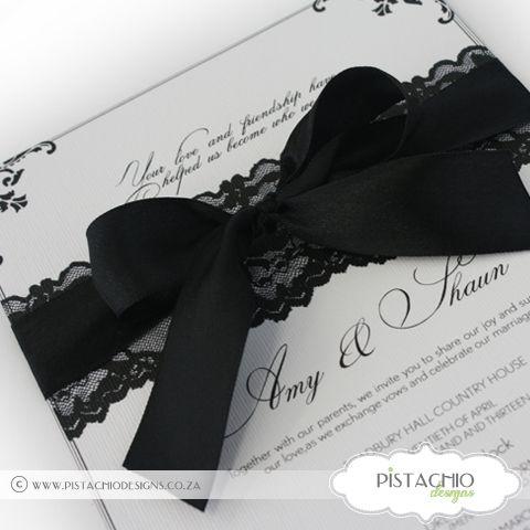 Wedding Invitation on Lace and Ribbon