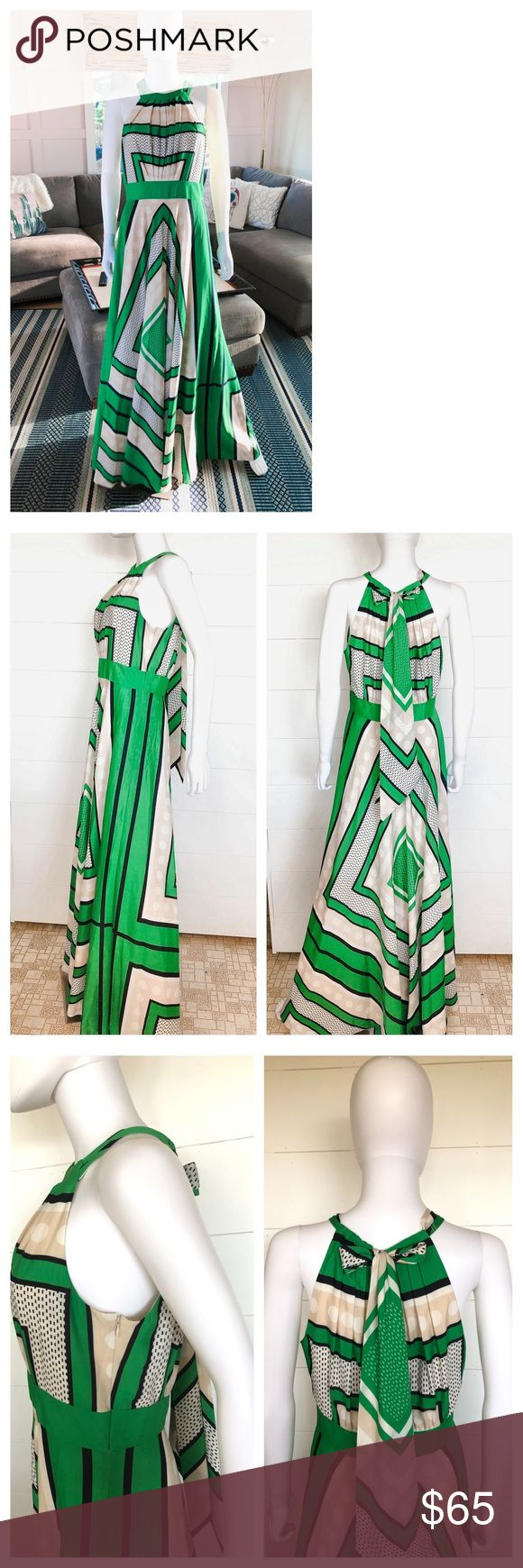 Eliza J/ Maxi Dress/Geometric Print/Grn/Wht/Sz 8 Eliza J Geometric Print Maxi Dr…