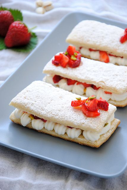 Pistachio And Strawberry Mousse Mille Feuilles Recipe — Dishmaps