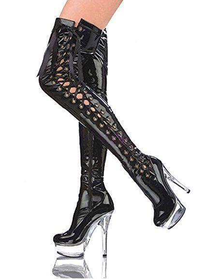 RUBY-FASHION Overknee Plateau Lack Stiefel #High-Heels Sexy GoGo Überknie #Lackstiefel Boots / Schwarz / Größe 40