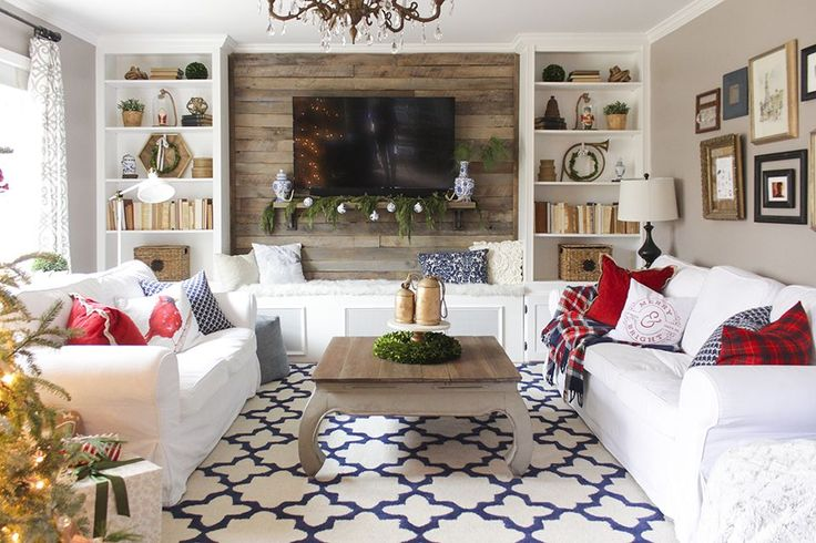 Christmas living room with bookcases converted into built-ins