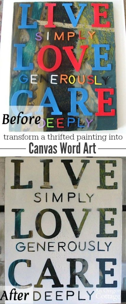 Create meaningful diy canvas word art for any decor from a thrifted painting - it's super easy and inexpensive!
