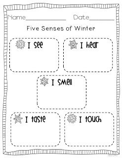 """Five Senses of Winter"" Activity - cute to write a winter cinquain poem after brainstorming"